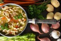 A pot of fresh homemade Chicken Noodle Soup with ingredients. A pot of fresh homemade Chicken Noodle Soup surrounded by some of the ingredients stock photo