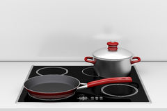 Pot and frying pan Royalty Free Stock Photography
