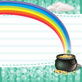 A pot full of coins with a clover plant Royalty Free Stock Photos
