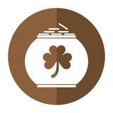 Pot full coins shamrock decoration celebration st patrick day shadow. Vector illustration eps 10 Stock Illustration