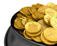 Pot full of golden coins. Isolated on white Stock Images