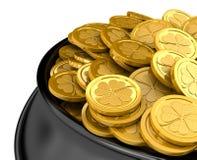 Pot full of golden coins Stock Images
