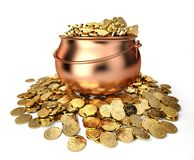 Pot full of golden coins. Isolated on white Stock Photo