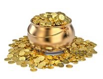 Pot full of golden coins. Isolated on white Stock Image