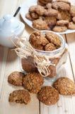 Pot full of healthy muesli cookies Stock Image