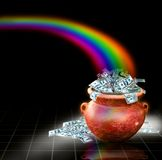 Pot full of money with rainbow. At the end of the rainbow awaits a terracotta red pot filled with 100 and 50 dollar bills Royalty Free Stock Photos