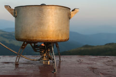 Pot on a gas burner Stock Photography