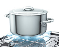 Pot with gas stove Royalty Free Stock Photos