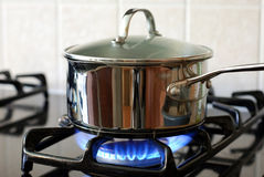 Pot on the gas stove Royalty Free Stock Photography