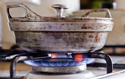 The pot on a gas stove Stock Photography