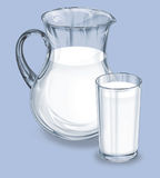Pot from glass. Pot (jar) from glass with healthy milk Stock Image