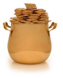 Pot of gold. Gold pot with gold coins on white Stock Photos