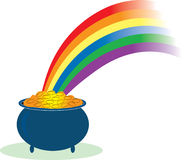 Pot of Gold. With a rainbow shining in it Stock Images