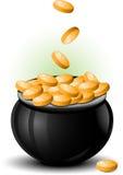 Pot of gold. Vector St. Patricks Day illustration Stock Photo