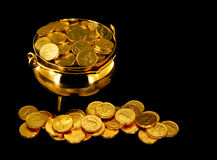 Pot of Gold. Coins a symbol of The Luck of the Irish or St Patrick's Day Stock Image