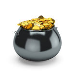 Pot of gold. 3d illustration pot of gold  on a white background Stock Image