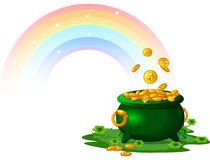 Pot of Gold. Pot  full of golden coins at the End of the Rainbow Royalty Free Stock Photo