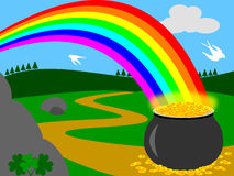 Pot of Gold. Illustration showing the legendary pot of gold at the end of the rainbow. Ideal also for St. Patricks or Saint Patrick s Day greeting cards stock illustration
