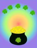 Pot Of Gold. Rainbow and shamrocks Stock Image