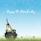 Pot of Gold with Beer on Grass. Creative Conceptual Vector Art of Pot of Gold with Beer on Grass Royalty Free Stock Image