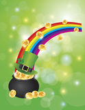 Pot of Gold with Bokeh Background Illustration Stock Photos