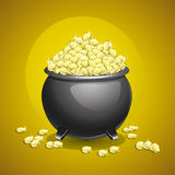 Pot of gold  on brown background. Stock Photography