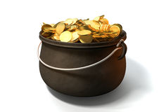 Pot Of Gold. A cast iron pot filled with gold coins on an isolated background royalty free stock photo