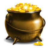 Pot with gold coin Stock Images