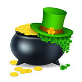 Pot with gold coin for Patrick`s day. vector illustration  on white background EPS10 Stock Photography