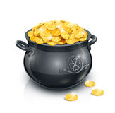 Pot with gold coin for Patrick's day Royalty Free Stock Image