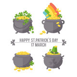 Pot with gold coin for St. Patrick's day. Holiday symbols on a white background Royalty Free Stock Photography