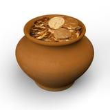 Pot with gold coins Stock Photos