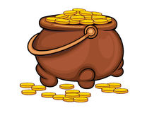 Pot with gold coins. As a treasure concept. Vector illustration Royalty Free Stock Photography