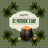 Pot with gold coins and clover image in the corners of the image. Welcome St. Patrick`s Day inscription. Background Royalty Free Stock Photography