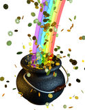 Pot of gold coins at the end of the rainbow. 3d Royalty Free Stock Photo