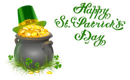 Pot of gold coins. Full cauldron of gold. Patrick green hat with gold buckle. Happy Patricks Day lettering Stock Image