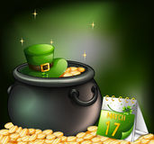 A pot of gold coins with a hat and a calendar Royalty Free Stock Photo