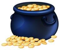 A pot of gold coins Stock Photos