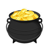 Pot of gold coins isolated on white. Vector illustration. Stock Photos