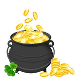 Pot of gold coins isolated on white. Vector illustration. Royalty Free Stock Photo