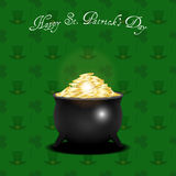 Pot with gold coins on leprechaun hat and shamrock background Stock Photography