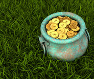 Pot of gold coins on a meadow Stock Image