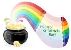 Pot with gold coins and rainbow Stock Photos
