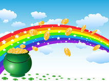 Pot of gold coins and rainbow on the sky Stock Photos