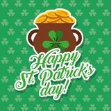 Pot of gold coins st patricks day card clovers background Royalty Free Stock Photos