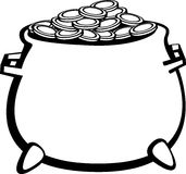 Pot with gold coins vector illustration Stock Image