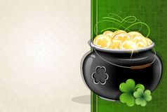 Pot with gold coins on vintage background Stock Photos