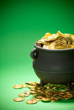 Pot of Gold: Cropped View of Gold in Cauldron Stock Photos