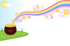 Pot of gold at the end of rainbow Royalty Free Stock Photography