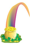 Pot of gold at the end of the rainbow. Illustration of a pot of gold with a rainbow and clover Stock Images